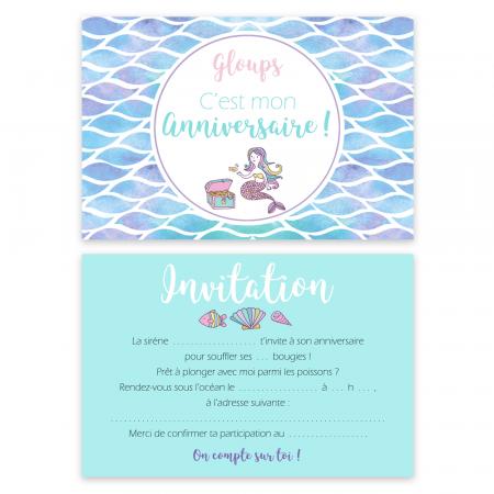 "5 cartes d'invitation ""Sirène"" + 5 enveloppes"