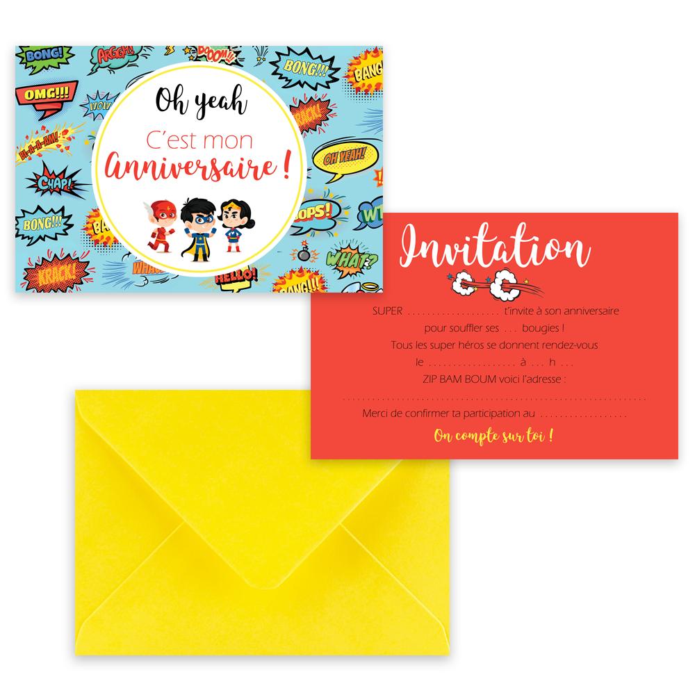 """5 cartes d'invitation """"Super héros"""" + 5 enveloppes"""