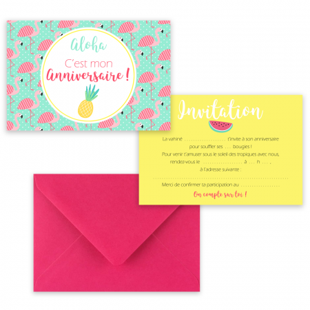 "5 cartes d'invitation ""Tropical"" + 5 enveloppes"