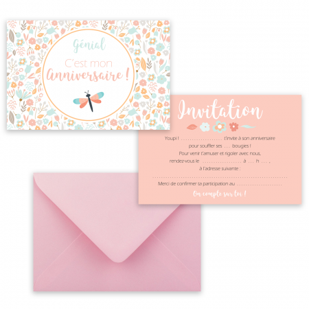 "5 cartes d'invitation ""Printemps"" + 5 enveloppes"
