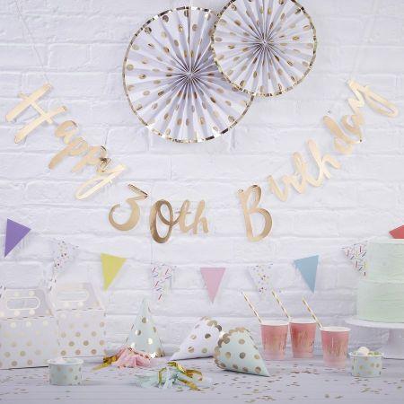 """Guirlande dorée """"HAPPY 30th BIRTHDAY"""""""
