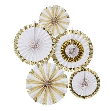 Lot de 5 rosaces blanches et dorées