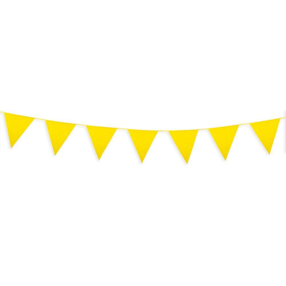 Guirlande fanion papier jaune - 2,50 m