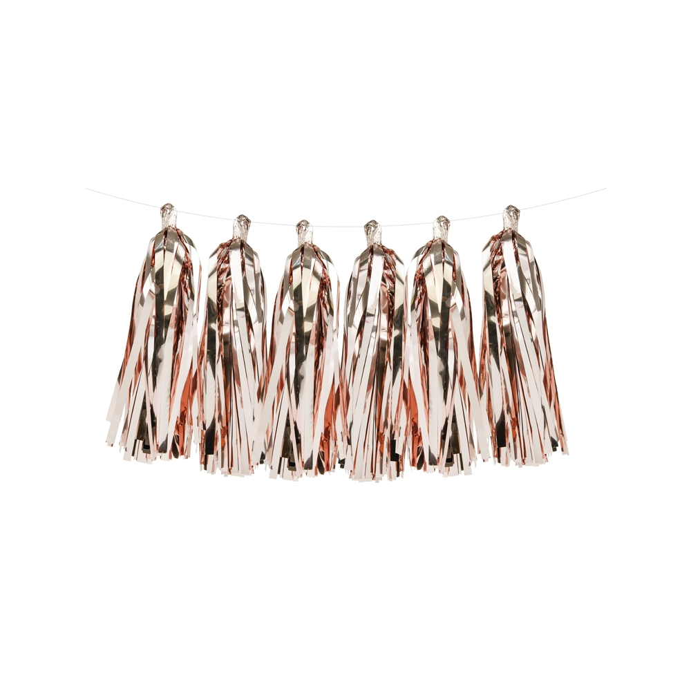 15 tassel rose gold