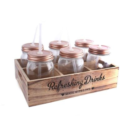 Caisse de 6 mason jar couvercle cuivre avec pailles