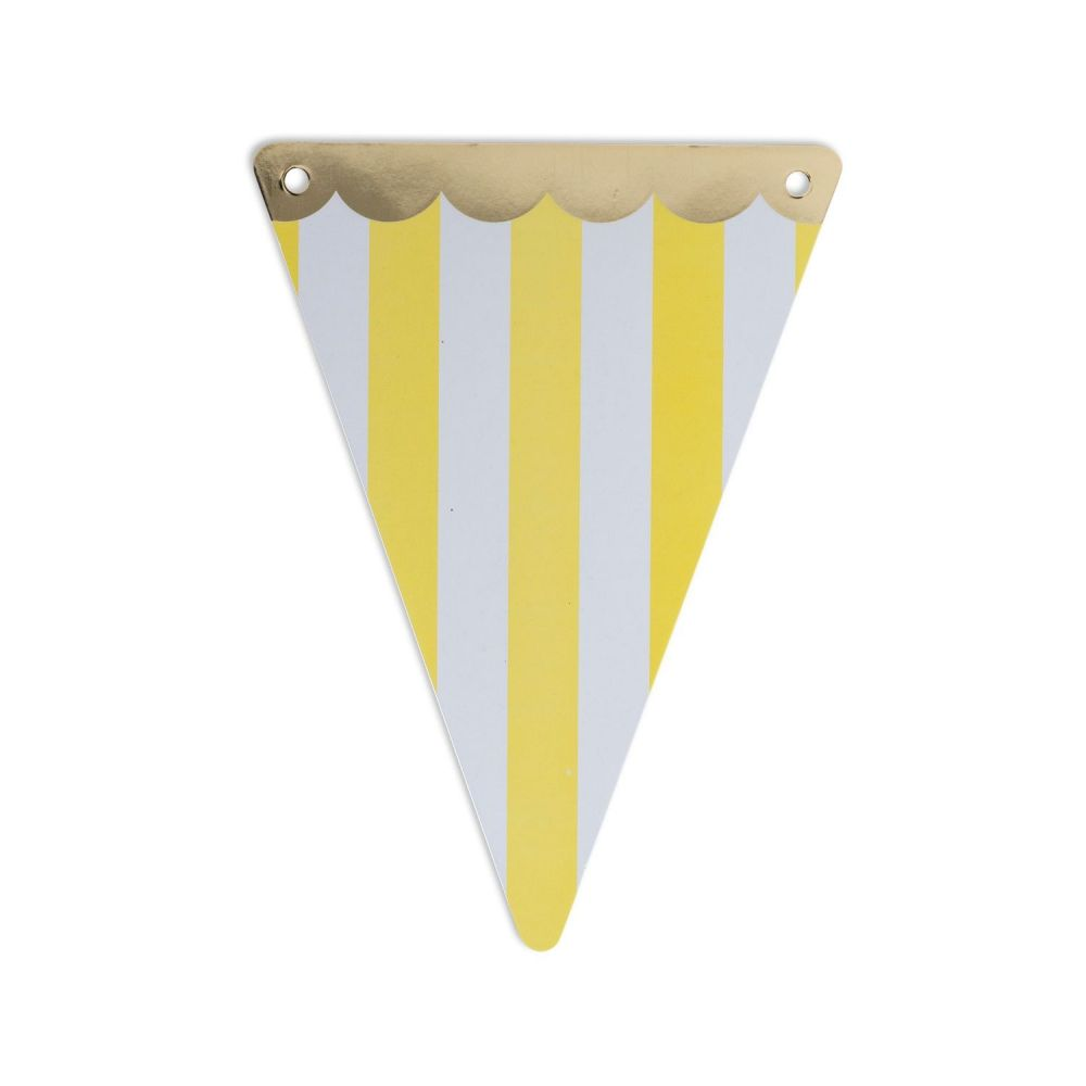 5 fanions rayures jaunes en papier