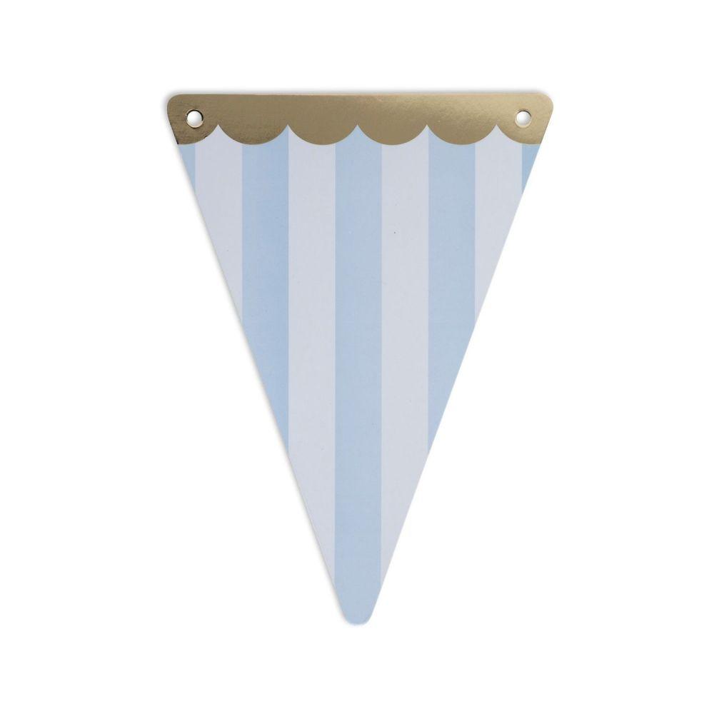 5 fanions rayures bleu ciel en papier