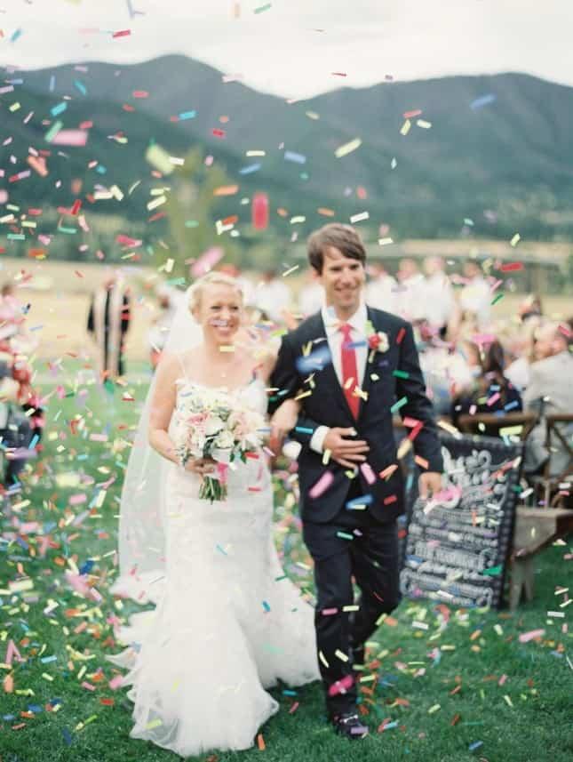 mariage ceremonie confettis