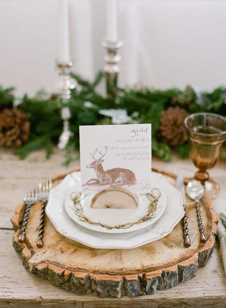 decoration de table bois noel