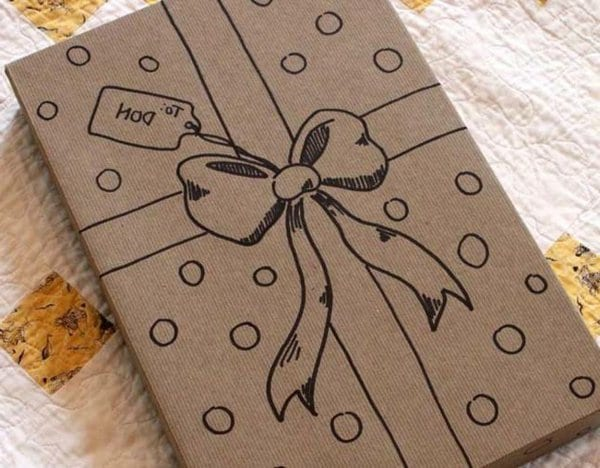 paquet cadeau kraft dessin