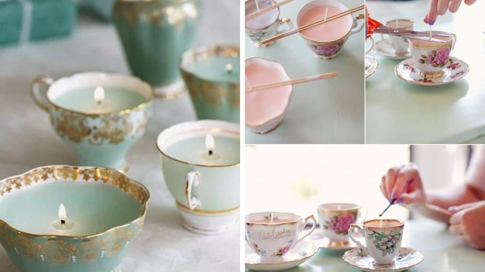 bougies tasse de thé mariage vintage