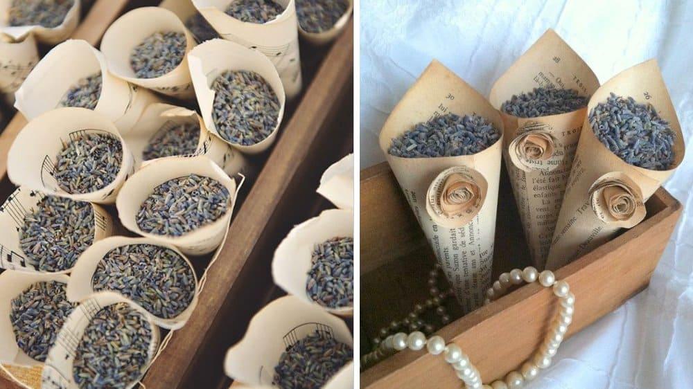 cornets mariage vintage petales