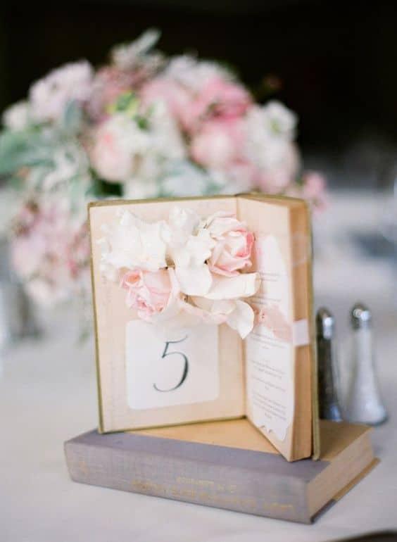 numero de table mariage vintage
