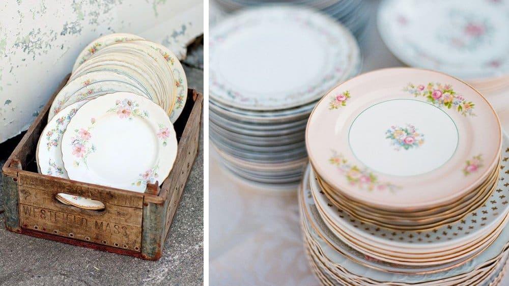 vaisselle mariage vintage