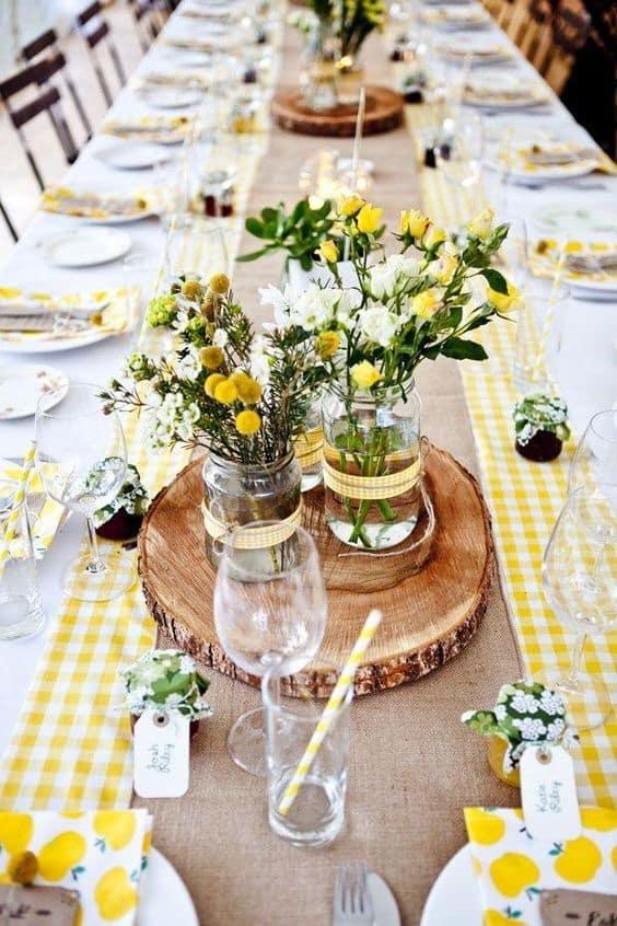 Inspiration du jaune dans ma d coration de mariage for Deco de table bleu et gris